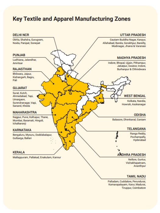 Key Textile and Apparel Manufacturing Zones